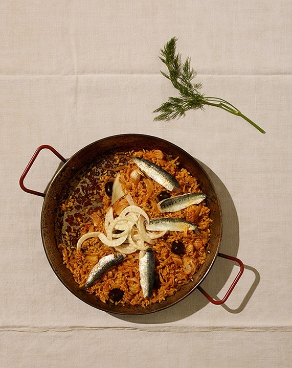 Sardine and olive paella